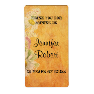 Rustic Country Painted Wood Anniversary Wine Label