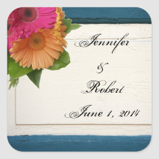 Rustic Country Painted Wood Daisies Envelope Seal Square Sticker