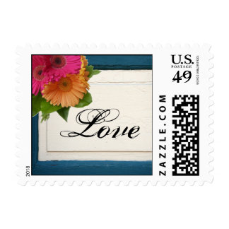 Rustic Country Painted Wood Daisy Wedding Postage