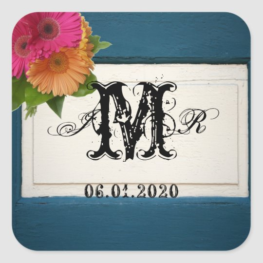 Rustic Country Painted Wood Monogram Sticker
