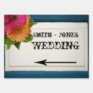 Rustic Country Painted Wood Wedding Direction Sign