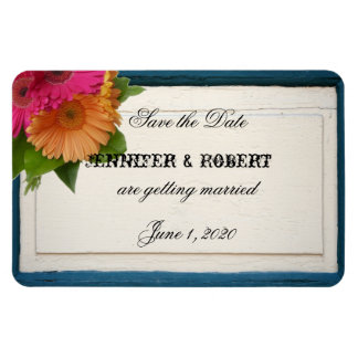 Rustic Country Painted Wood Wedding Save the Date Rectangular Photo Magnet