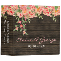 Rustic Country Peony Barn Wood Wedding Binder