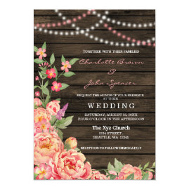 Rustic Peony Barn   Wood Wedding Invitations