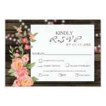 Rustic Country Peony Barn Wood Wedding Card