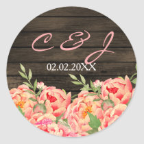 Rustic Country Peony Barn Wood Wedding Classic Round Sticker