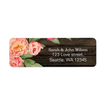 Rustic Country Peony Barn Wood Wedding Label