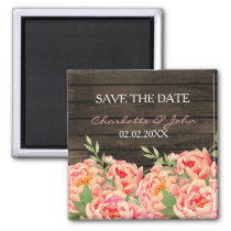 Rustic Country Peony Barn Wood Wedding Magnet