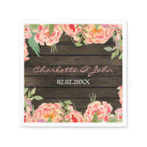 Rustic Country Peony Barn Wood Wedding Napkin
