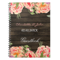 Rustic Country Peony Barn Wood Wedding Notebook