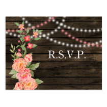 Rustic Country Peony Barn Wood Wedding Postcard