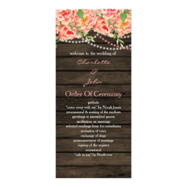 Rustic Country Peony Barn Wood Wedding Rack Card