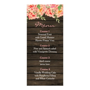 Rustic Country Peony Barn Wood Wedding Rack Card