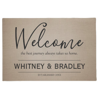Rustic Country Personalized Name Welcome Doormat