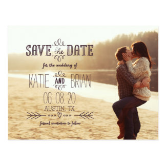 Rustic Country Photo Save the Date Postcard