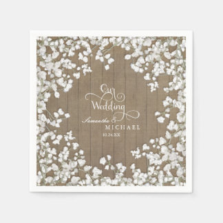 Rustic Country Picnic Reception Baby's Breath Standard Cocktail Napkin