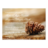 Rustic Country Pine Cone Wedding Invitations