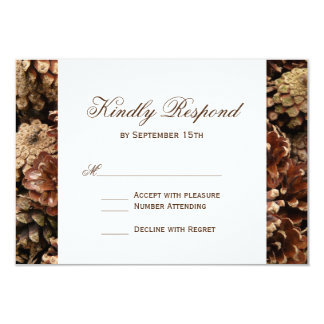 "Rustic Country Pine Cone Wedding RSVP Cards 3.5"" X 5"" Invitation Card"