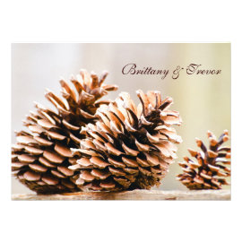 Rustic Country Pine Cones Fall Wedding Invitations Personalized Invites