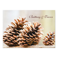 Rustic Country Pine Cones Fall Wedding Invitations