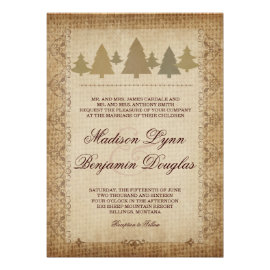 Rustic Country Pine Trees Fall Wedding Invitations