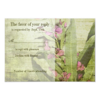 Rustic Country Pink Fireweed Wedding RSVP Cards