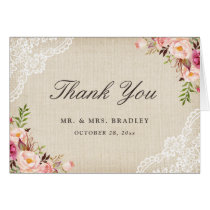 Rustic Country Pink Floral Burlap Lace Thank You