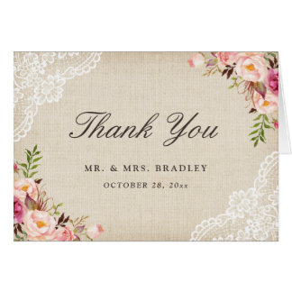 Rustic Country Pink Floral Burlap Lace Thank You Card