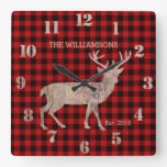 Rustic Country Plaid Farmhouse Deer with Antlers Square Wall Clock