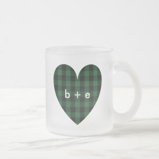 Rustic Country Plaid Monogram 10 oz Frosted Glass Frosted Glass Coffee Mug