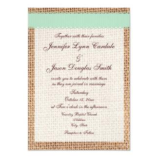 Rustic Country Printed Burlap Sage Ribbon Wedding Personalized Invites
