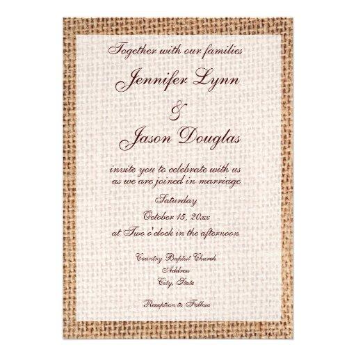 rustic country printed burlap wedding invitations 5 x 7