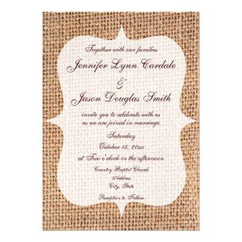 Rustic Country Printed Burlap Wedding Invitations