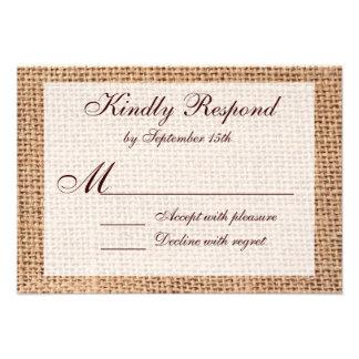 Rustic Country Printed Burlap Wedding RSVP Cards