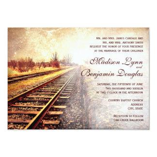 Rustic Country Railroad Tracks Wedding Invitations