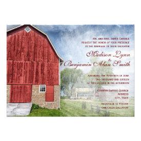 Rustic Country Red Barn Farm Wedding Invitations