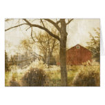 Rustic Country Red Barn In Field Card