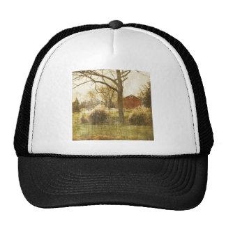 Rustic Country Red Barn In Field Trucker Hat