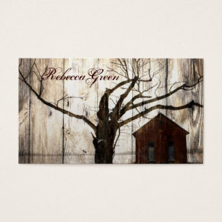 Rustic country Red Barn Winter Wedding Business Card