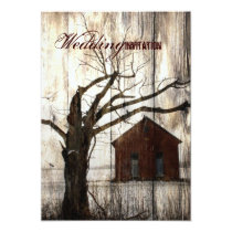 Rustic country Red Barn Winter Wedding Card
