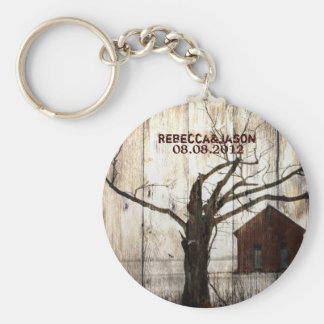 Rustic country Red Barn Winter Wedding favor Keychain