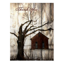 Rustic country Red Barn Winter Wedding thank you Postcard