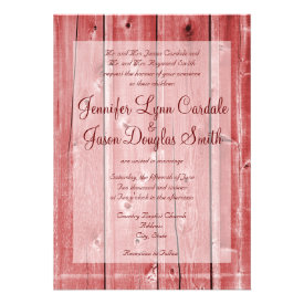 Rustic Country Red Barn Wood Wedding Invitations