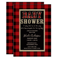 Rustic Country Red Black Buffalo Plaid Baby Shower Card