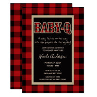 Rustic Country Red Buffalo Plaid BABY Q BBQ Shower