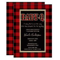 Rustic Country Red Buffalo Plaid BABY Q BBQ Shower Card