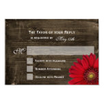 "Rustic Country Red Daisy Wood Wedding RSVP Cards 3.5"" X 5"" Invitation Card"