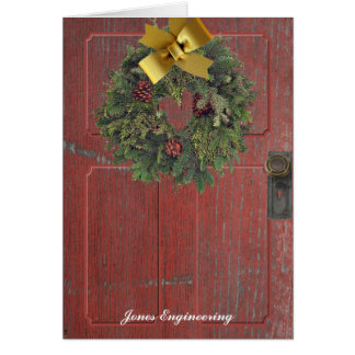 Rustic Country Red Door with a Wreath Card