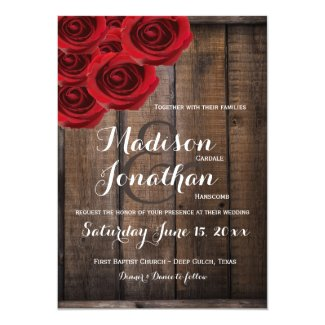 Rustic Country Red Roses Wood Wedding Invitations