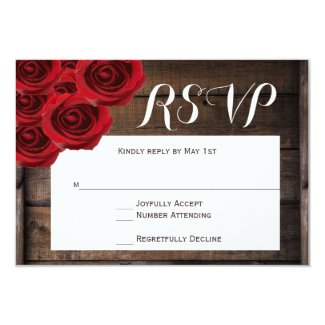 Rustic Country Red Roses Wood Wedding RSVP Cards